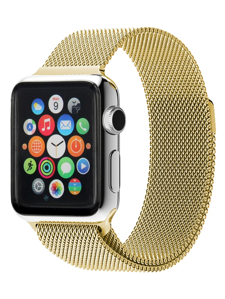 Stainless Steel Milanese Loop Mesh Replacement Band with Adjustable Magnetic Closure Clasp for Apple Watch Series 1, Series 2, Series 3, 38mm
