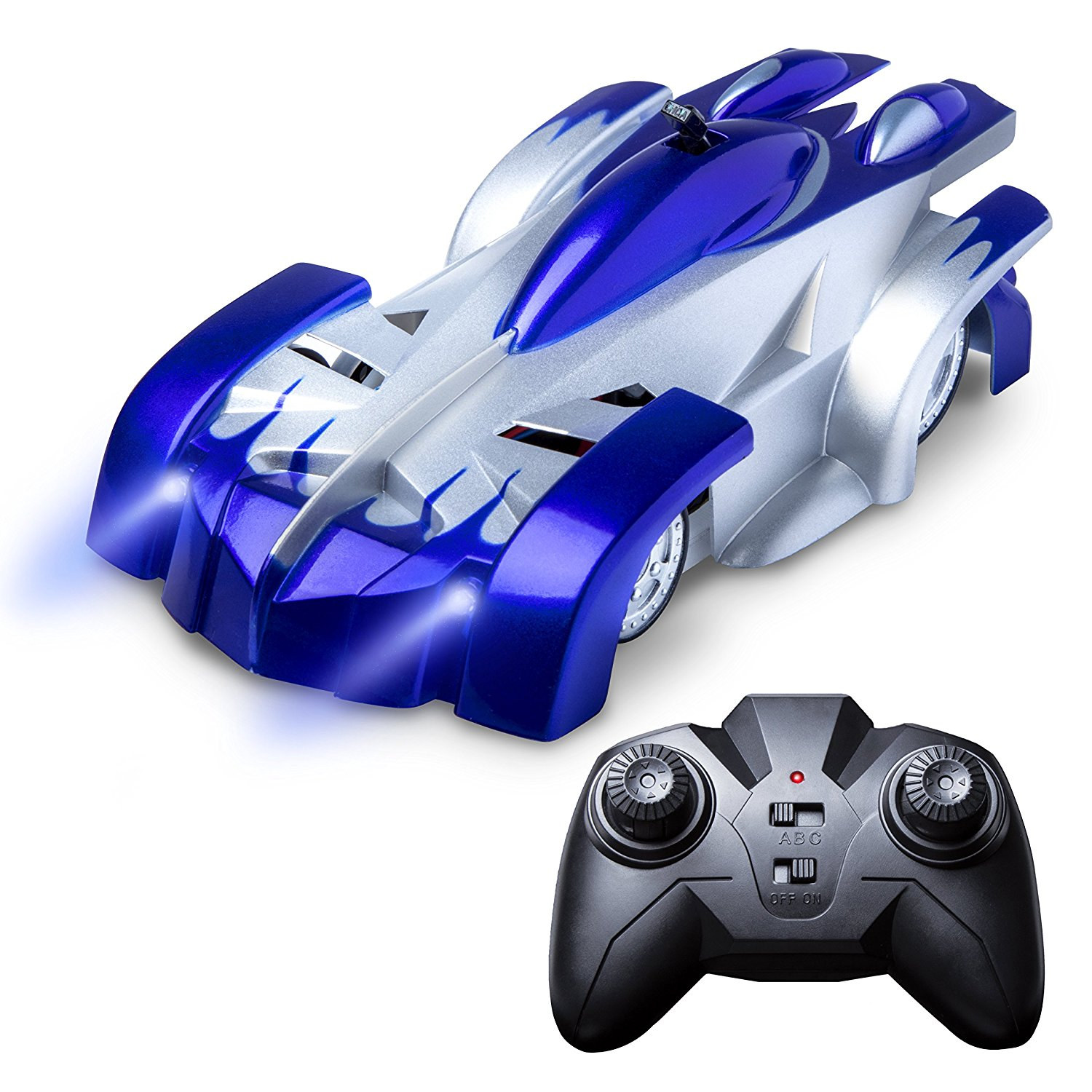 Gravity Defying Remote Control Car - RC Car Drives on Walls, Ceilings (Blue)