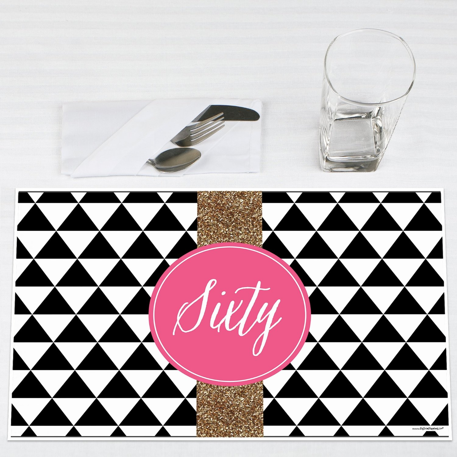 Chic 60th Birthday Party Placemats Set of 12 by Big Dot of Happiness, LLC