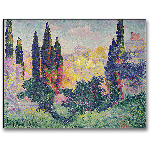 """Trademark Fine Art """"The Cypresses at Cagnes"""" Canvas Wall Art by Henri Edmond Cross"""