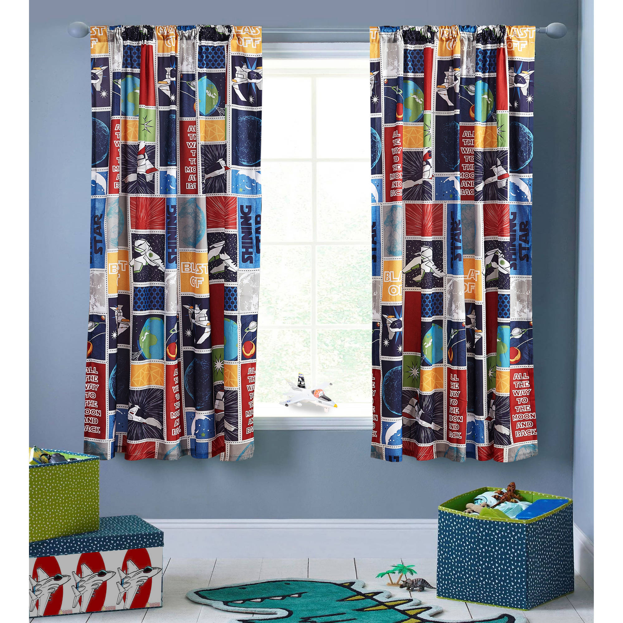 Mainstays Space Stars Boys Bedroom Curtain Panel