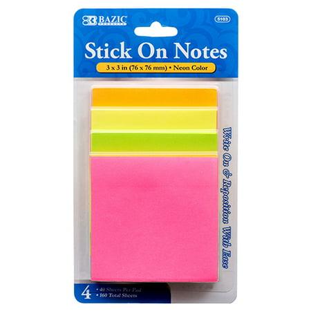 New 308538  Notes Stick On 4Pk Asst Neon Color Bazic (24-Pack) Markers Cheap Wholesale Discount Bulk Seasonal Markers Automobil.](Neon Sticks Wholesale)