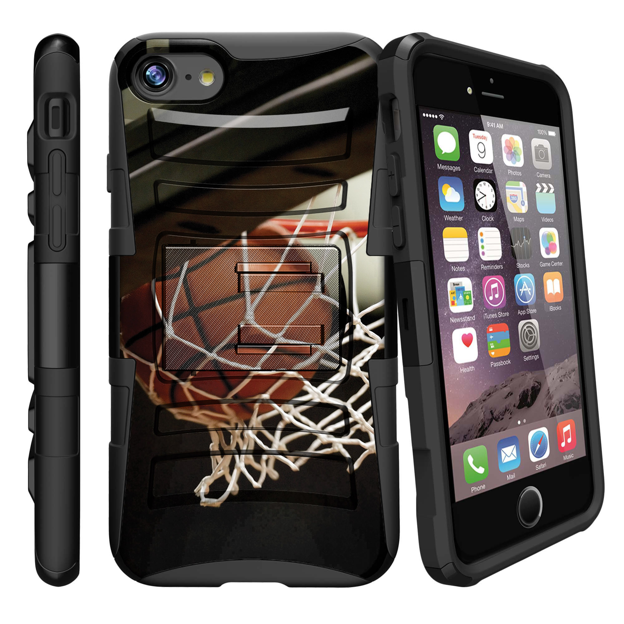 Apple iPhone 7  Case Shell [Clip Armor]- Premium Defender Case Hard Shell Silicone Interior with Kickstand and Holster by Miniturtle® - Swish