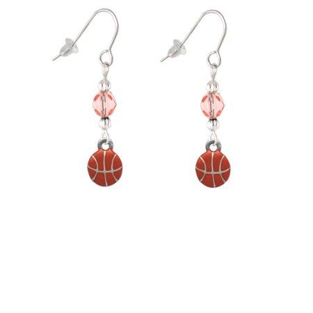 Mini Basketball - Two Sided - Pink Bead French Earrings](Basketball Earrings)