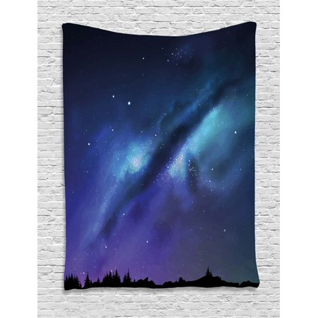 Night Tapestry  Milky Way Inspired Nebula Cluster Galaxy Fantastic Cosmos Constellation  Wall Hanging For Bedroom Living Room Dorm Decor  60W X 80L Inches  Aqua Dark Blue Black  By Ambesonne