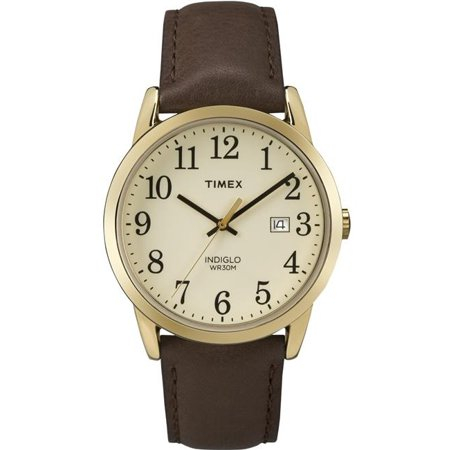 Timex TW2P758009J Mens Easy Reader Gold Tone Brown Leather Strap Watch