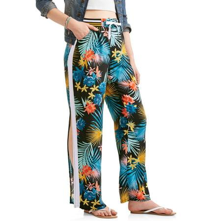 a6e46ee9e1e51 Paper Tee - Juniors  Printed Challis Pants w  Side Stripe   Slit -  Walmart.com