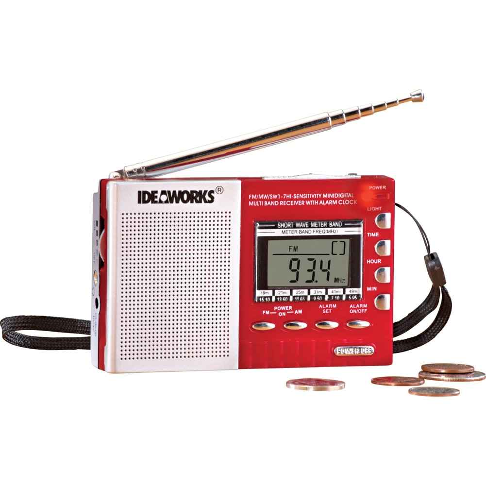 Digital Worldwide Radio And Alarm Clock, Red