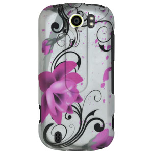 Rubberized Protector Hard Shell Snap On Case for HTC myTouch 4G Slide - Pink Lotus