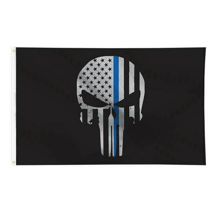 Thin Blue Line Skull Flag - 3 ft x 5 ft