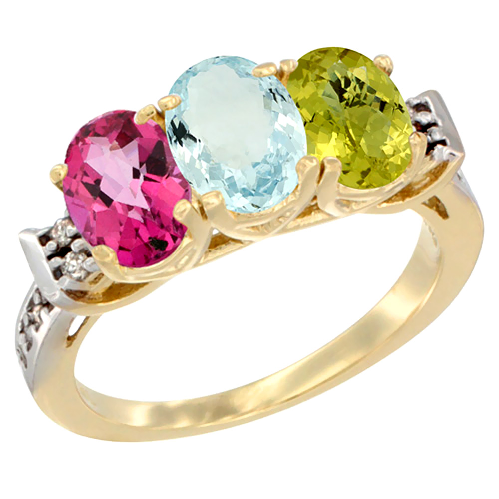 10K Yellow Gold Natural Pink Topaz, Aquamarine & Lemon Quartz Ring 3-Stone Oval 7x5 mm Diamond Accent, sizes 5 10 by WorldJewels