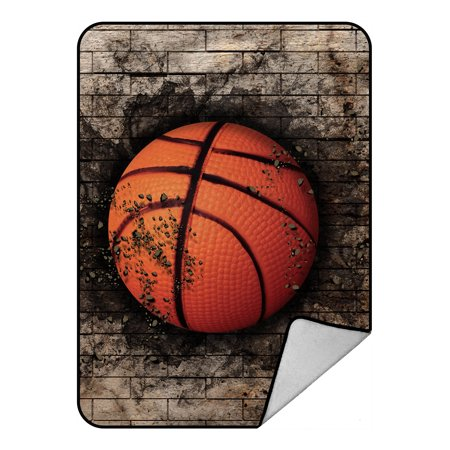 YKCG Brick Wall Basketball Sports Vintage Blanket Crystal Velvet Front and Lambswool Sherpa Fleece Back Throw Blanket 58x80inches