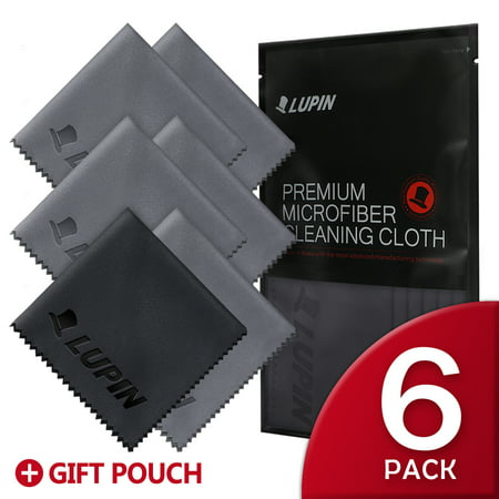 Lupin Microfiber Cleaning Cloths, 6 PACK [Small] Premium Ultra Lint Free Polishing Cloth for Cell Phone, Tablets, Laptops, iPad, Glasses, Camera Lens, TV Screens & Other Delicate Surfaces - -