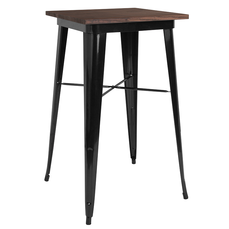 """Offex 23.5"""" Square Black Metal Indoor Bar Height Table with Walnut Rustic Wood Top"""