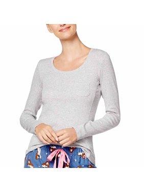 Jenni by Jennifer Moore Ribbed Pajama Top (Heather Grey, X-Small)