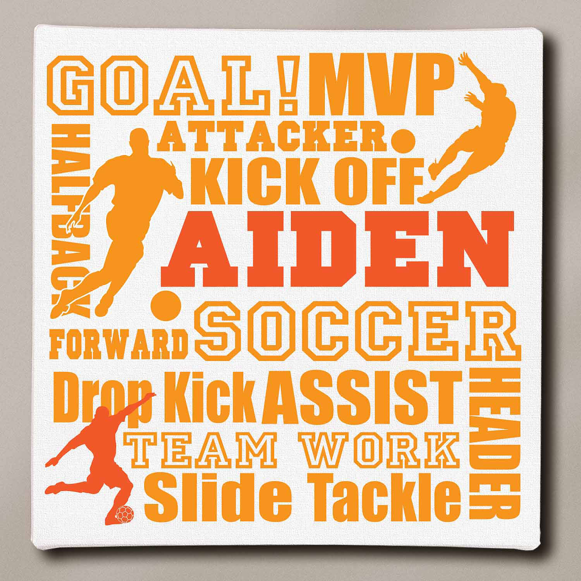 "Personalized Soccer Typography Canvas, 11"" x 11"""