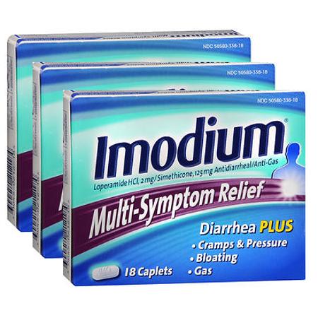 Imodium Relief Multi-Symptom pack Caplets 18 caplets de 3