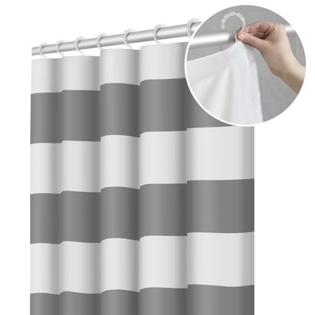 Maytex Smart Curtain Porter Stripe Fabric Shower Curtain with Attached Roller Glide Hooks ()