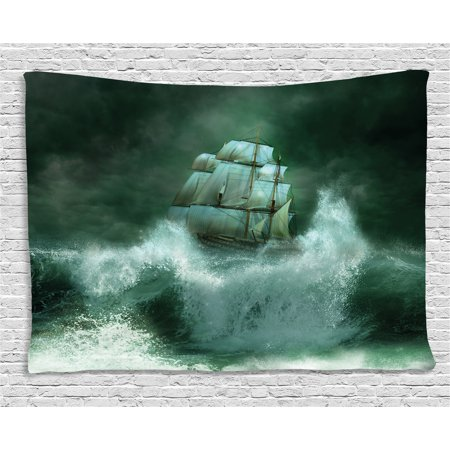 Adventure Hanging (Pirate Ship Tapestry, Old Ship in Thunderstorm Digital Artwork Fantasy Adventure, Wall Hanging for Bedroom Living Room Dorm Decor, 80W X 60L Inches, Jade Green Dark Green White, by Ambesonne)