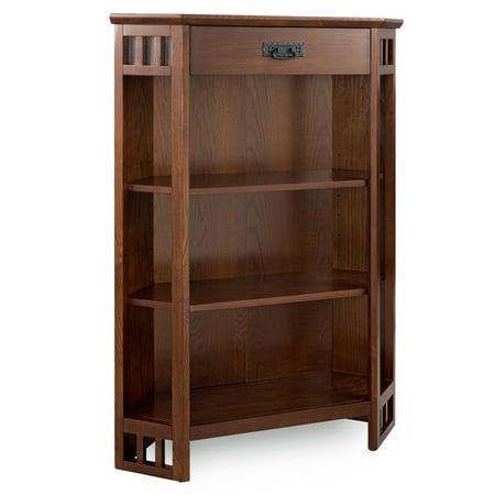 Oak Mantel - Mission Oak Mantel Height 3-Shelf Corner Bookcase with Drawer