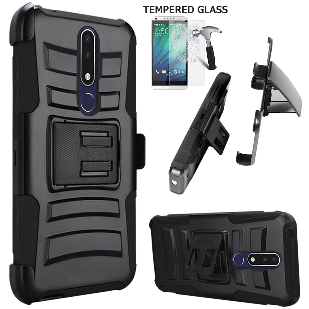 "Phone Case for Nokia 3.1 Plus (6"") / Cricket 3.1 Plus Case + Screen Protector Shock absorbing Holster Belt Clip with Rugged Cover (Holster Black Edge Case + Tempered  Glass)"