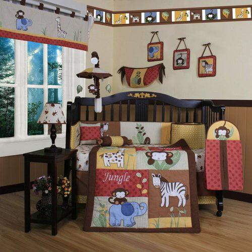 Geenny Boutique Amazon Jungle Animal 13 Piece Crib Bedding Set