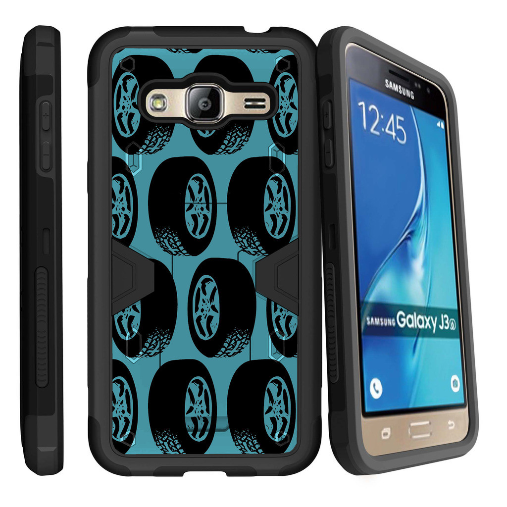 Samsung Galaxy J3, Galaxy Sky Dual Layer Shock Resistant MAX DEFENSE Heavy Duty Case with Built In Kickstand - Tires Pattern