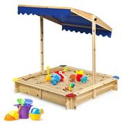 Costway Kids Wooden Sandbox Children Outdoor Playset w/ Convertible Canopy for Backyard