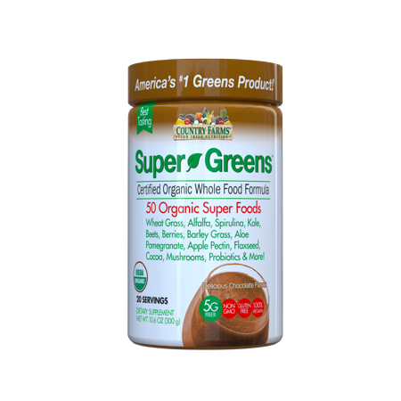 Country Farms Super Greens Drink Mix, Chocolate, 10.6 oz., 20 Servings