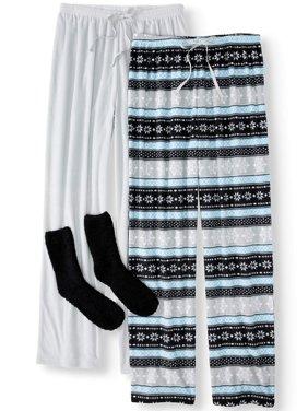 Mad Dog Women's and Women's Plus 3-Piece Fleece Long Sleeve Top, Pant and Sock Sleep Set