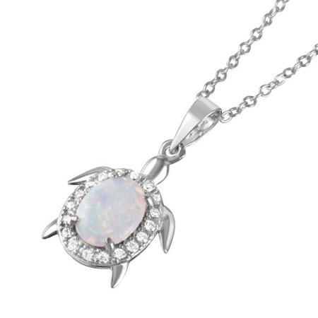 .925 Sterling Silver Oval Opal Clear CZ Tiny Turtle Pendant (Sterling Silver Turtle Necklace)