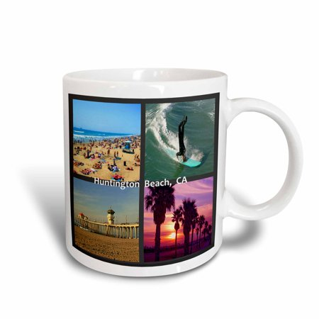 3dRose Huntington Beach Collage, Ceramic Mug, 15-ounce ()
