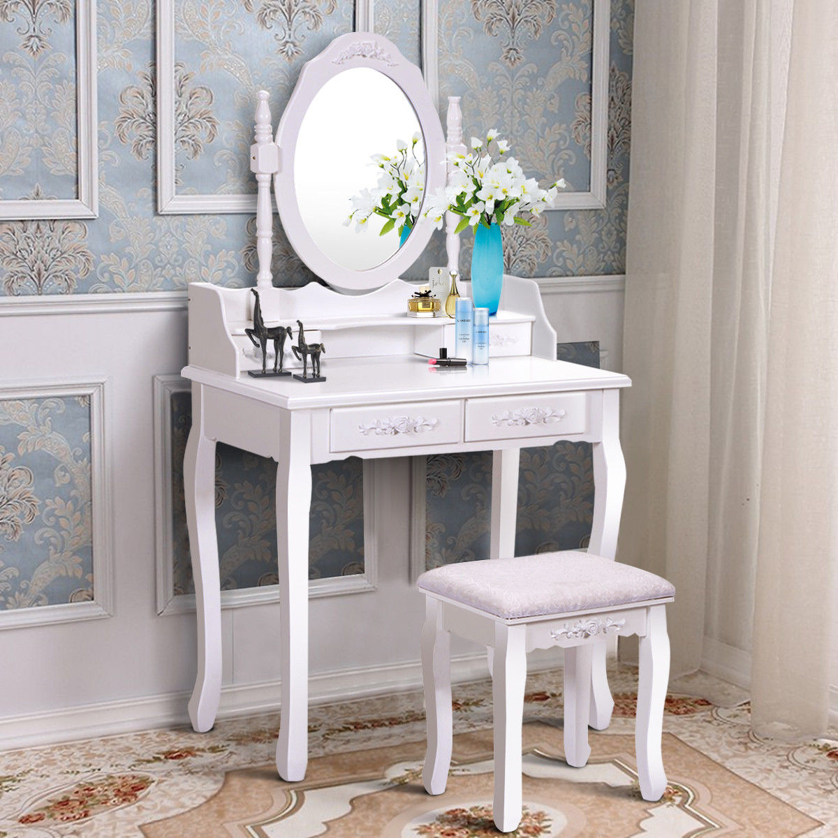 Wooden Makeup Dressing Table Vanity Set Jewelry W/ Stool 10 Drawer Mirror