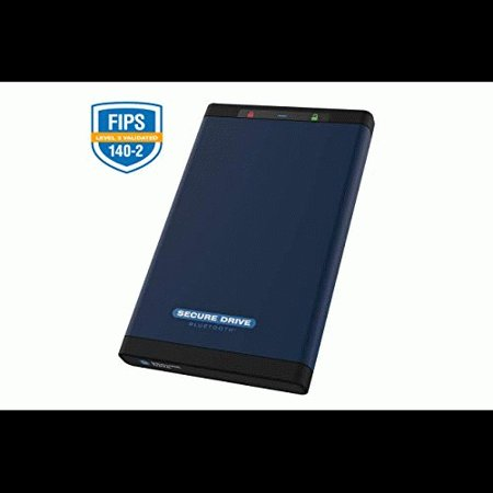 SecureData SecureDrive BT FIPS 140-2 Level 3 Validated 256-Bit Hardware Encrypted External Portable Hard Drive USB 3.0 - Secure Wireless Unlock via Mobile App (1