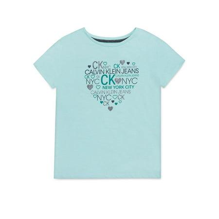 Girl's Logo Heart Cotton Tee - Large Tommy Hilfiger Logo Shirt