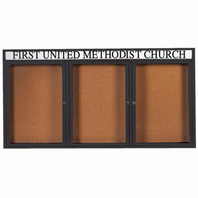Aarco Products DCC3672-3RHIBK 3-Door Illuminated Enclosed Bulletin Board with Header - Black