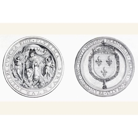 The Seal Of Francois I Of France Affixed To The Treaty Of Alliance Signed In 1525 Between France And England From Lunivers Illustre Published In Paris In 1868 Canvas Art - Ken Welsh Design Pics (36 x