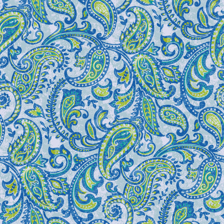 "Waverly Inspirations Cotton Duck 45"" Paisley Blue Fabric, per Yard"