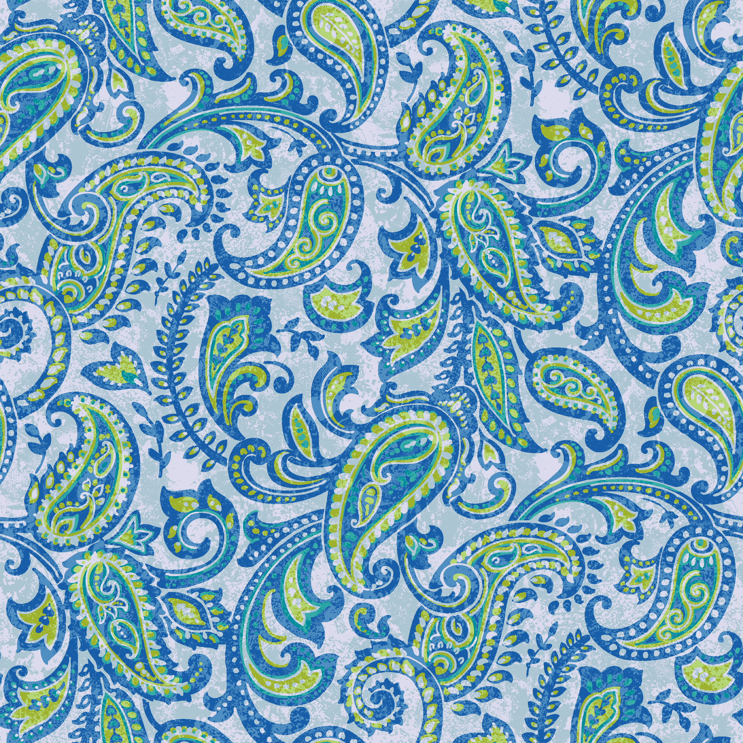 Waverly Inspirations Paisley Blue 100% Cotton Duck Fabric 45'' Cut By The Yard