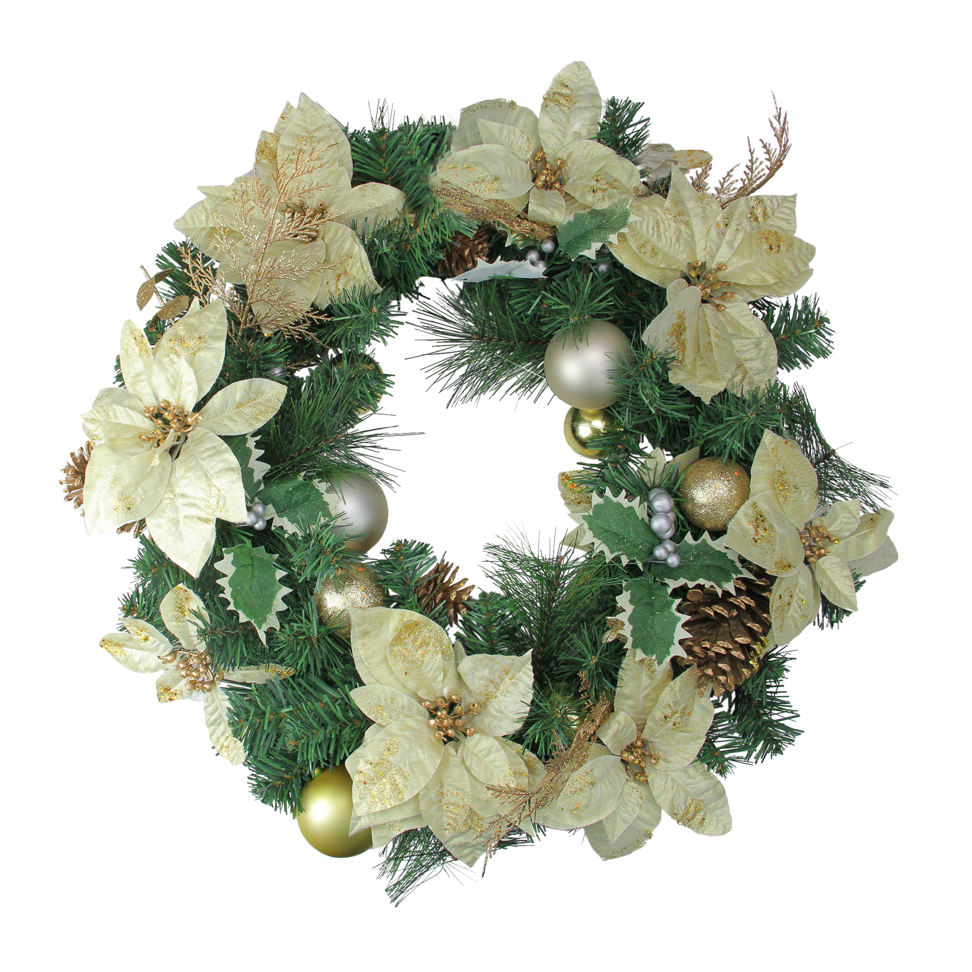 """Northlight 24"""" Unlit Gold Poinsettia and Pinecone Artificial Christmas Wreath"""