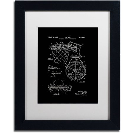 Trademark Fine Art  Basketball Hoop Patent 1965 Black  Canvas Art By Claire Doherty  White Matte  Black Frame