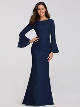 Ever-Pretty Womens Elegant Lace Long Sleeve Evening Party Prom Dresses for Women 07798 Navy Blue US6