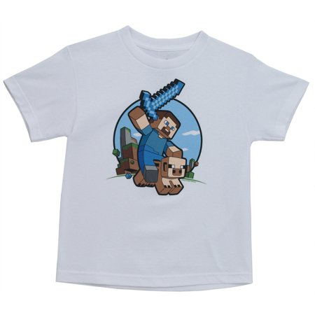 Minecraft Steve Pig Riding Notch Video Game Youth T Shirt Tee