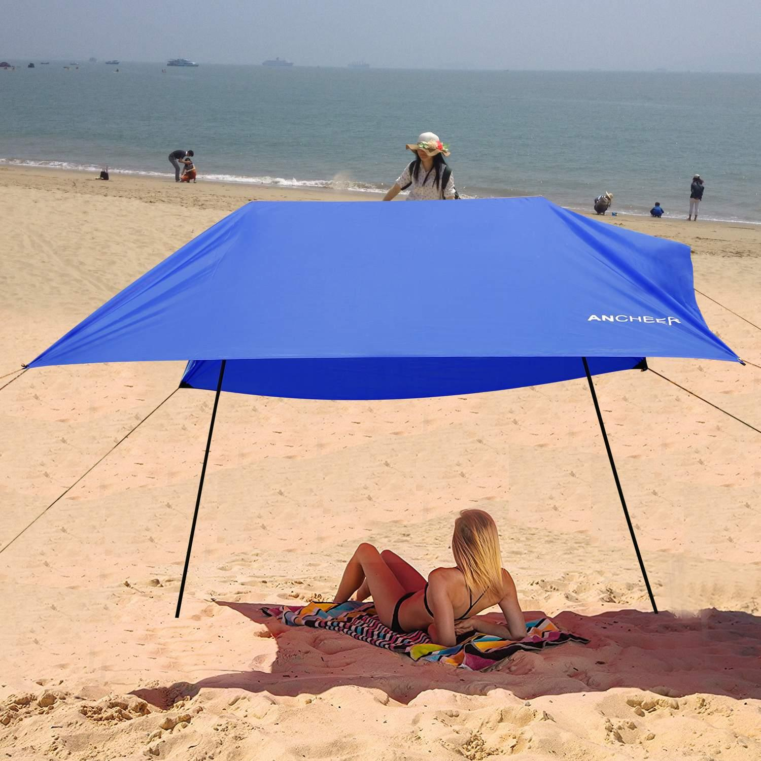 Beach Tent with Sand Anchor, Portable Lightweight  Canopy Sun Shelter,  9.8 x 9.8ft