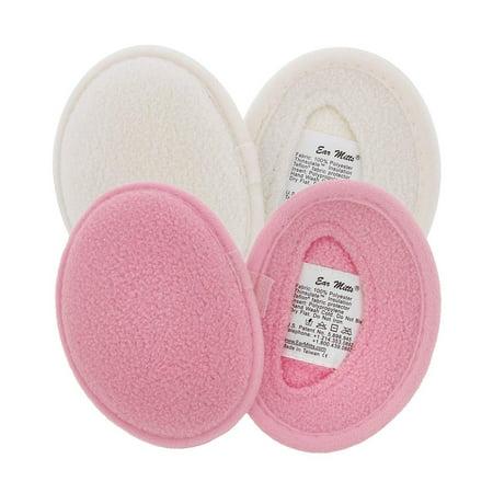 Womens Winter Mitt (2 Pack Ear Mitts Fleece Bandless Winter Ear Muffs For Women, Pink & White,)