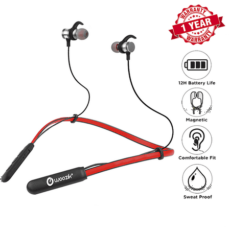 Woozik Flex Wireless Neckband Headphones, Bluetooth Earbuds, In-Ear Headset, Sport Fit with 12 Hour Battery Life, Built-in Mic and Magnetic Connection (F09)-Red