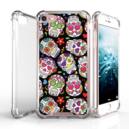 [Case for Apple iPhone 7] + Tempered Glass Screen Protetor  [CLEAR HARD TPU PROTECTIVE BUMPER] Case Skull Collection - Pattern Glass Sugar