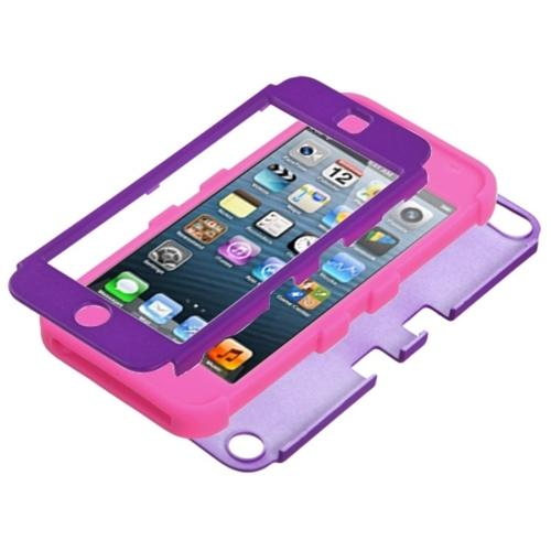 Insten Rubberized Grape/Electric Pink TUFF Hybrid Phone Case for APPLE: iPod touch (5th 6th Gen)
