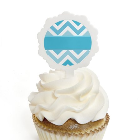 Chevron Blue - Cupcake Picks with Stickers - Baby, Bridal Shower or Birthday Party Cupcake Toppers - 12 Count
