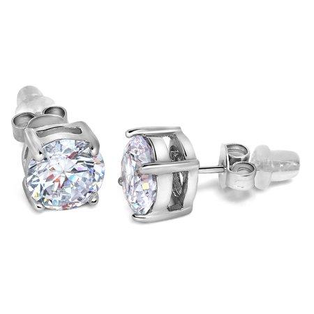 Buyless Fashion Girls Stud Earrings Silver White Round Crystal CZ Push Back